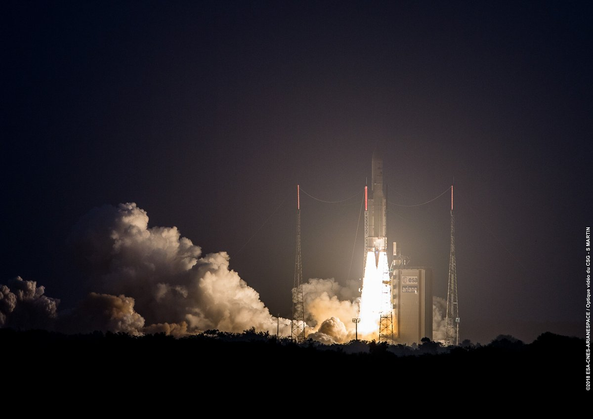 Ariane 5 Blasts Off at Sunset on Heavy-Haul with Japanese