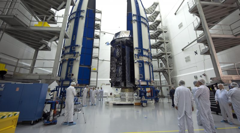 NROL-37 being encapsulated at Astrotech in Titiusville Florida for launch aboard ULA's Delta IV Heavy rocket.