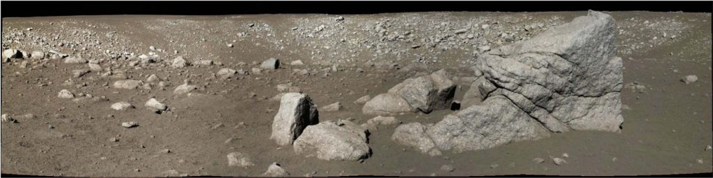 Panoramic view of the 'Zi Wei' crater by the Panoramic Camera on the Yutu rover