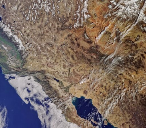 California imaged by Sentinel-3A on February 29 at 17:44 UTC - Image: Copernicus Program