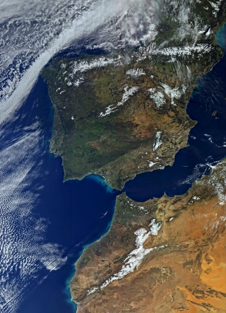 Impressive photo featuring Spain, Portugal and North Africa collected by the OLCI instrument on March 1, 2016. Aside from stunning detail over the land masses of Africa and the Iberian Peninsula, the image shows cloud flows and swirls of algae in the coastal areas. - Photo Credit: Copernicus Program