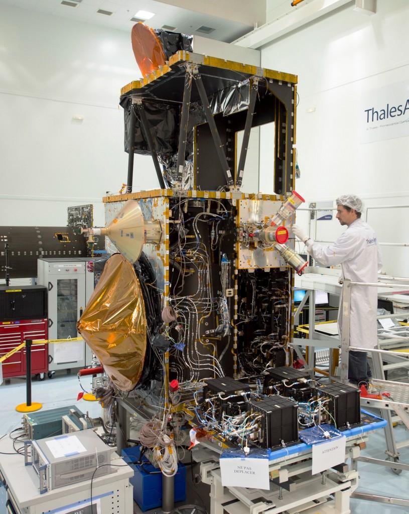 Sentinel 3A, MSG4, Jason3, Sentinel 1A in Thales Alenia Space Cannes facility.