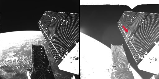Before an after photos of Sentinel-1A solar array show a large dent left by the particle impact - Photo: ESA