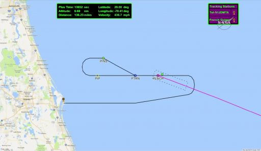 Racetrack Pattern flown by L-1011 en-route to the planned Pegasus Drop - Image: NASA TV