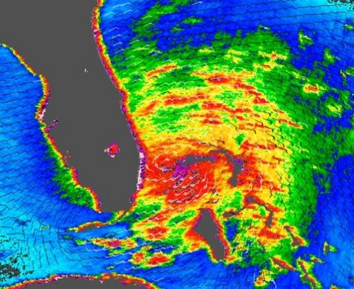Scatterometer Image of Hurricane Katrina showing zones of the strongest winds - Image: NASA/JPL