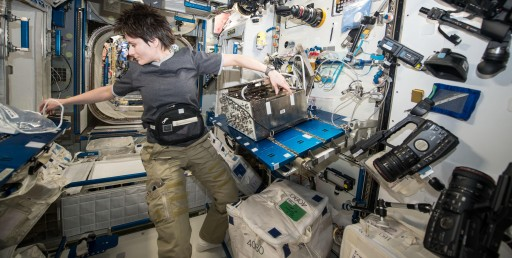 Samantha Cristoforetti working with Airway Monitoring - Photo: NASA/ESA