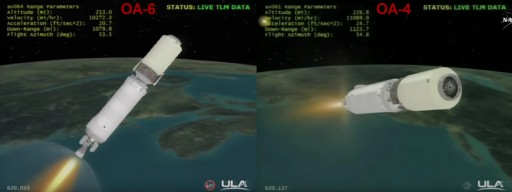 Cygnus OA-4 and Oa-6 at T+620 seconds. Note the different pitch attitudes and difference in speed/altitude. - Credit: NASATV/Spaceflight101