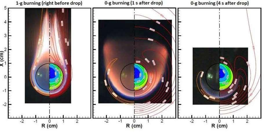 Photos & Computer Simulation Overlay of Flame transitioning from 1G to Microgravity - Credit: NASA