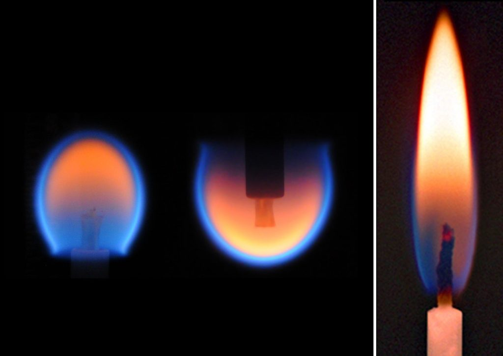 Two candle flame images taken as part of the Burning and Suppression of Solids experiment aboard ISS with air flow from bottom to top, compared with how a flame appears on Earth. - Credit: NASA