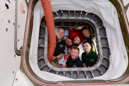 The Expedition 47 Crew is pictured inside Cygnus - Photo: NASA