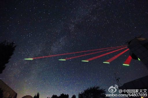 Laser beams from the sky – Mozi satellite begins Quantum Communications Testing – Photo: Han Yueyang/China National Astronomy Magazine