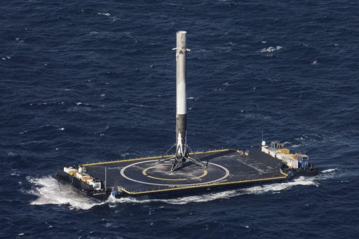 SpX-8 Booster standing atop the Drone Ship - Photo: SpaceX