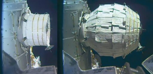 Before and After Shot of BEAM - Image: NASA TV