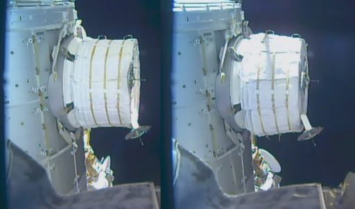BEAM before and after Thursday's partial expansion - Photo: NASA TV
