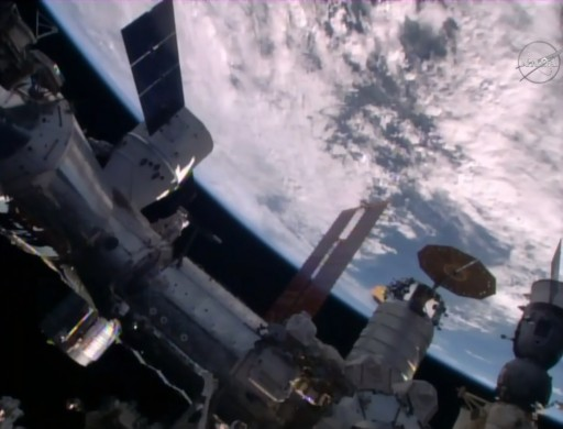 Dragon, Cygnus and Soyuz on the Station's Earth's forward, Earth-facing ports - Photo: NASA TV