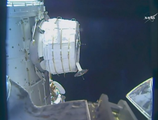 BEAM in partially deployed state - Photo: NASA TV