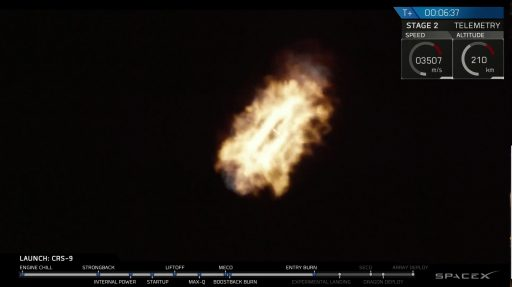 1st stage entry burn - Photo: SpaceX Webcast