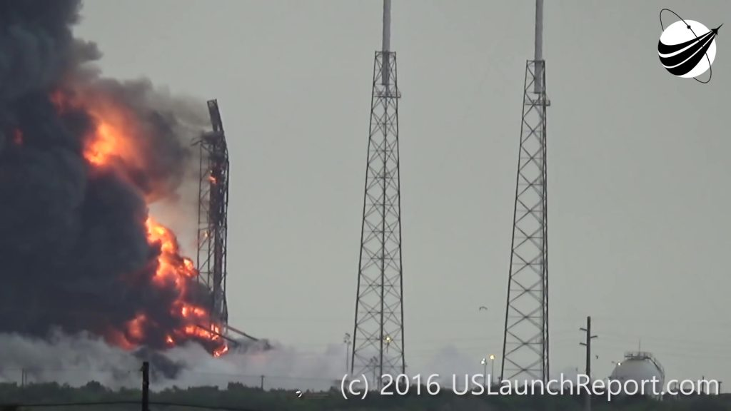 +60 Seconds: Flames and smoke billowing from the launch pad where a large accumulation of RP-1 and rocket debris continues burning for several minutes