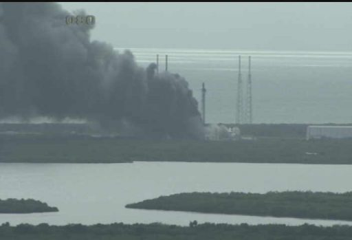 Smoke rises from Cape Canaveral's SLC-40 - Image: NASA KSC Webcam