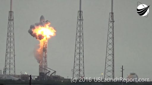 Initial deflagration around Falcon's second stage - Credit: U.S. Launch Report