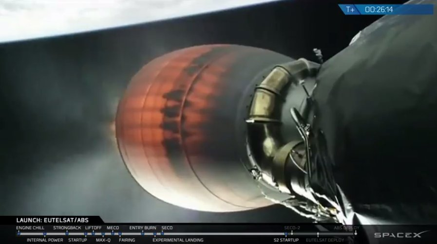 Pair of Communication Satellites orbited by Falcon 9, First Stage