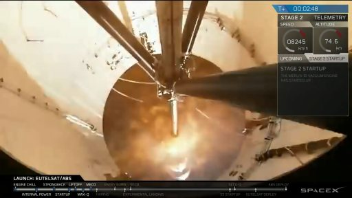 Second Stage Ignition as seen from the First Stage - Photo: SpaceX Webcast