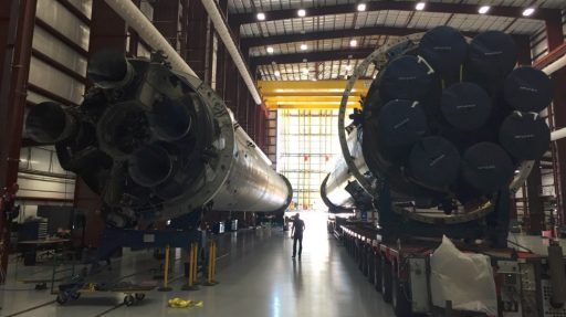 OG2 & SpX-8 Cores in the LC-39A HIF - Photo: SpaceX/Elon Musk