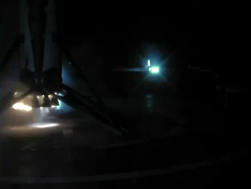 First Stage immediately after touchdown - Photo: SpaceX Webcast