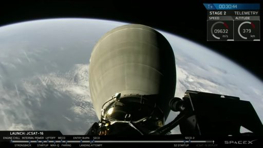 Falcon 9 Second Stage in Orbit after its successful launch - Photo: SpaceX