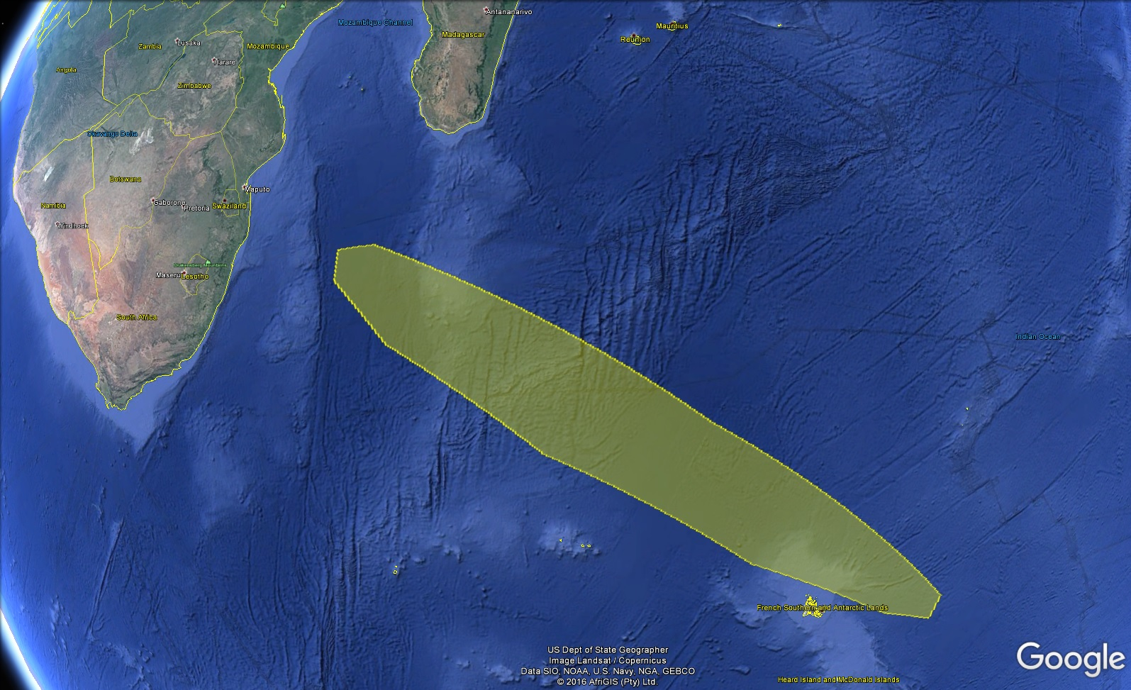 Stage 2 Impact Zone - Image: Google Earth / Spaceflight101