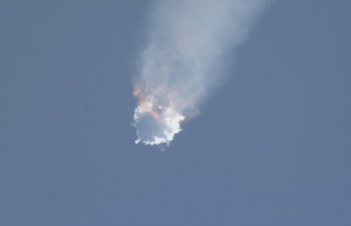 Falcon 9 disintegrates two minutes after lifting off with the Dragon SpX-7 spacecraft - Credit: NASA TV