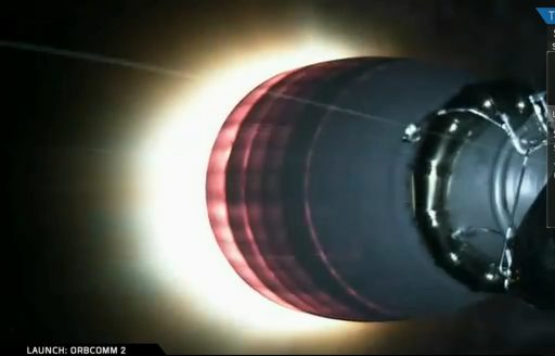 Falcon 9's Second Stage ignites in Monday's orbital delivery of 11 OG2 Satellites - Credit: SpaceX Webcast