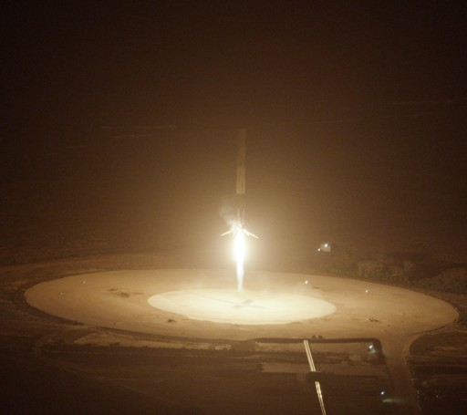 The Falcon 9 booster comes in for a bullseye landing after a successful return from the edge of space. - Credit: SpaceX