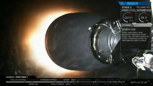 Falcon's Second Stage ignites to finish the orbital delivery of 11 OG2 satellites. - Credit: SpaceX Webcast