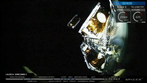 The first Pair of OG2 satellites separates from the launch vehicle adapter - Credit: SpaceX Webcast
