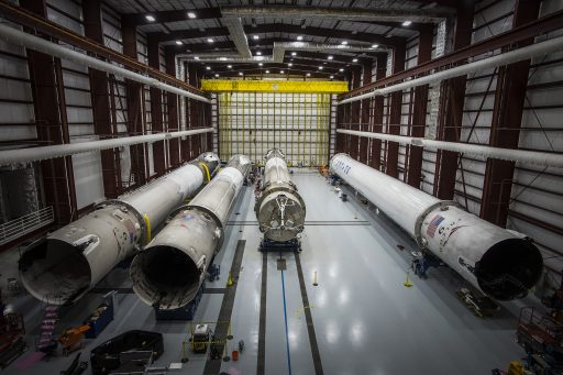 Rocket Hangar - SpaceX's first four recovered boosters - Photo: SpaceX