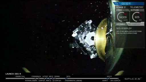 SES-9 Separation - Photo: SpaceX Webcast