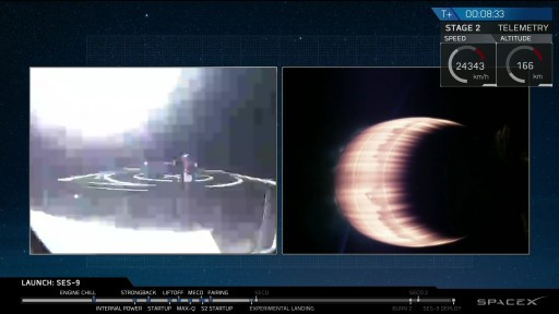 Grainy video from the Drone Ship showed the first stage coming in off-center - Image: SpaceX Webcast
