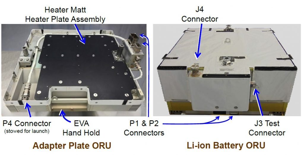 Battery Adapter Plate and Li-Ion Battery ORU - Image: Aerojet Rocketdyne / NASA