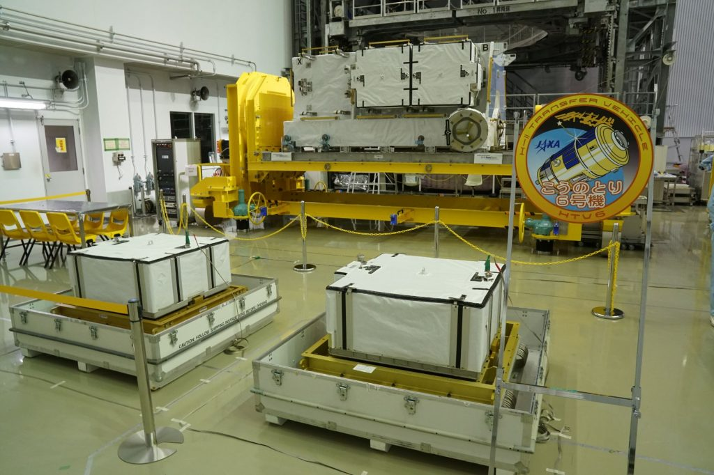 New Li-Ion Batteries, HTV Exposed Pallet in Background - Photo: NASA