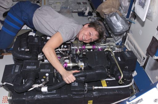 Astronaut Peggy Whitson during CDRA Maintenance - Photo: NASA