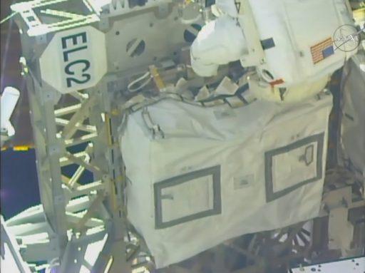 Kelly at the ELC-2 MBSU - Photo: NASA TV