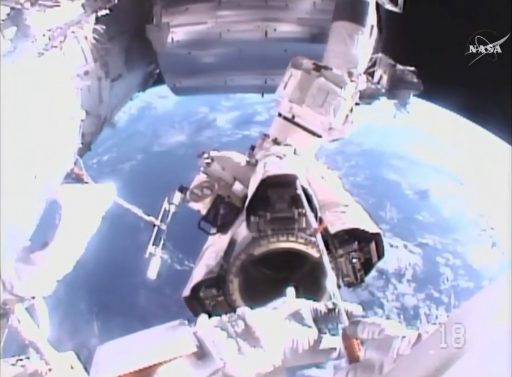 Inserting the BLT into the Arm Latches - Photo: NASA TV