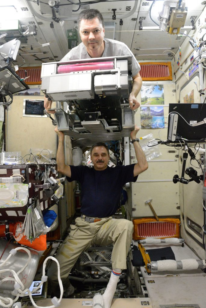 Mikhail Kornienko & Oleg Kononenko with the Russian BD-2 Treadmill - Photo: NASA