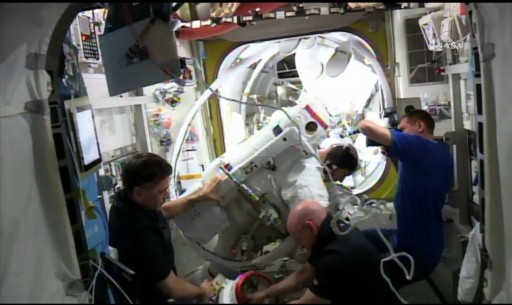 Post EVA Water Sampling - Photo: NASA TV