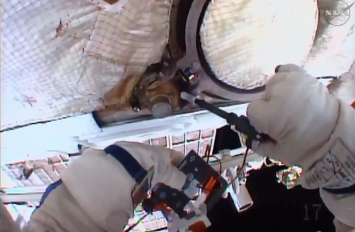 'Test' Sampling on Window 8 - Photo: NASA TV
