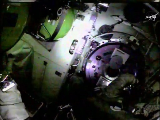 Inside the Pirs Airlock - Photo: NASA TV