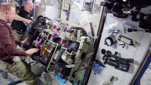 Kelly & Kopra during Thursday's CDRA Maintenance - Photo: NASA