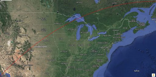 Ground Track over United States leading up to Re-Entry over Canada - Image: Spaceflight101/TLE Analyser/Google Maps