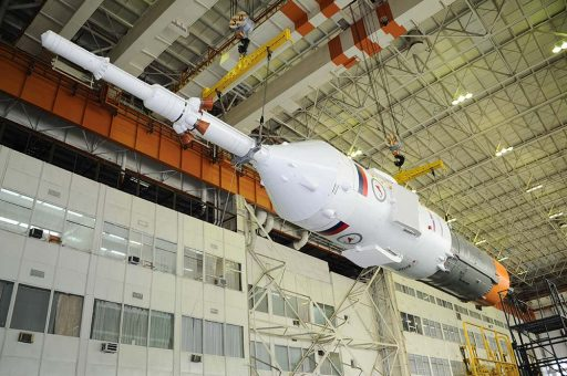Soyuz TMA-19M integrated with its Block I Stage - Credit: RSC Energia